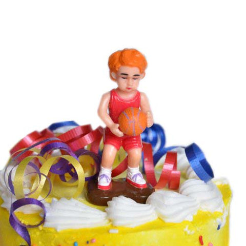 Basketball Boy Cake Topper Red Hair Basketball Player