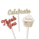 12 Glitter Thank You Celebrate Cupcake Picks Birthday Wedding Baby Shower Topper