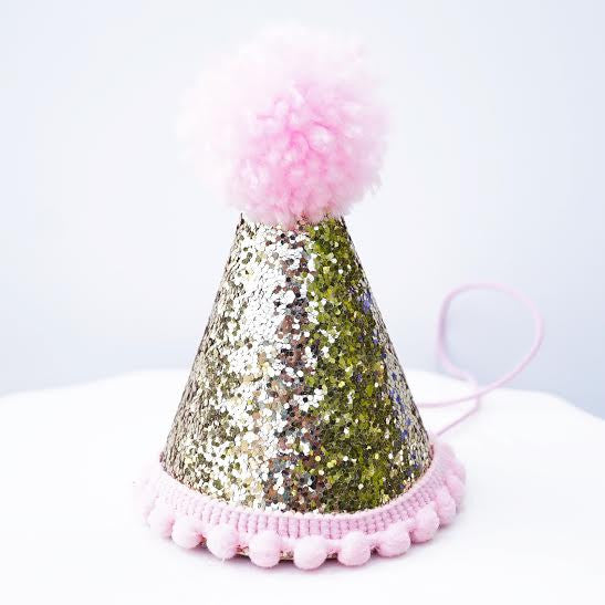 Gold Glitter Sparkles Pink 1st Birthday Girl Cone Hat