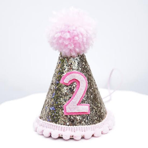 Gold Glitter Sparkles Pink 2nd Birthday Girl Cone Hat Party Toddler 2 Birthday Pom Pom Hat