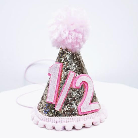 Gold Glitter Sparkles Pink 1/2 Birthday Girl Cone Party Hat Toddler Birthday 6 months Decor- Le Petit Pain