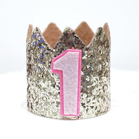 Gold Glitter Sparkles Pink 1st Birthday Girl Hat Party Crown Toddler 1 Princess Birthday- Le Petit Pain