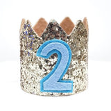 Gold Glitter Sparkles Blue 2nd Birthday Boy Hat Party Crown Toddler 2 Birthday Decor
