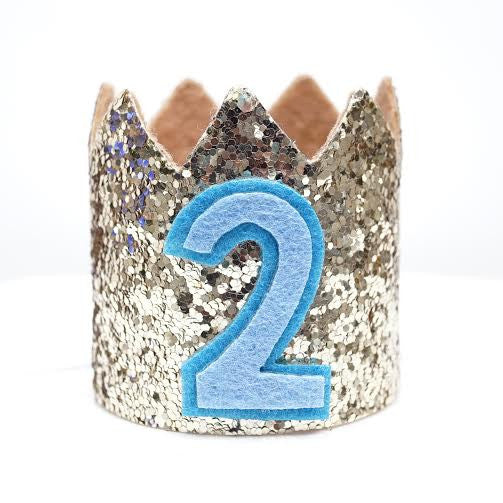 Gold Glitter Sparkles Blue 2nd Birthday Boy Hat Party Crown Toddler 2 Le Petit Pain