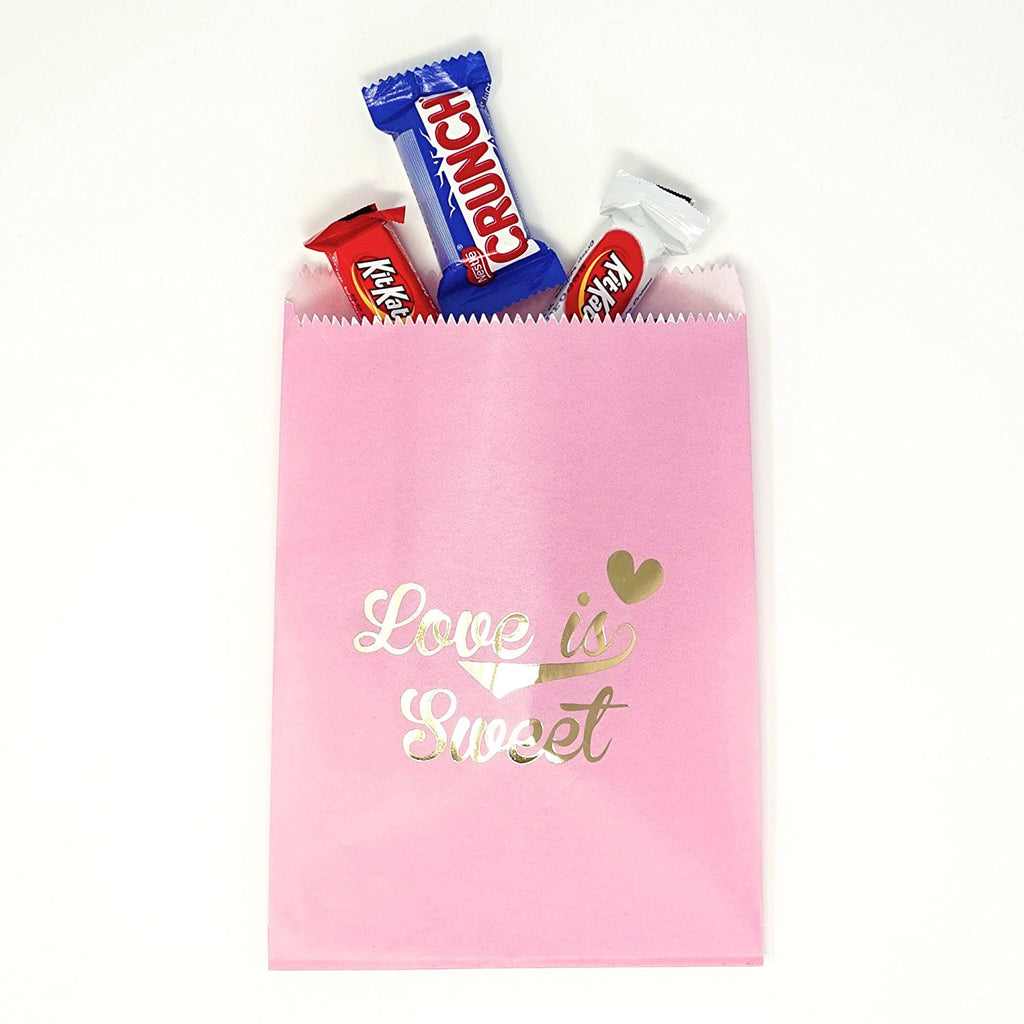 Pink and Gold Love is Sweet Paper Treat Favor Bags 5x7 Gift Bags ...
