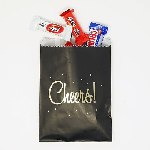 Black and Gold Cheers Party Favor Gift Bags Popcorn Treat Bags- 48 count- Le Petit Pain