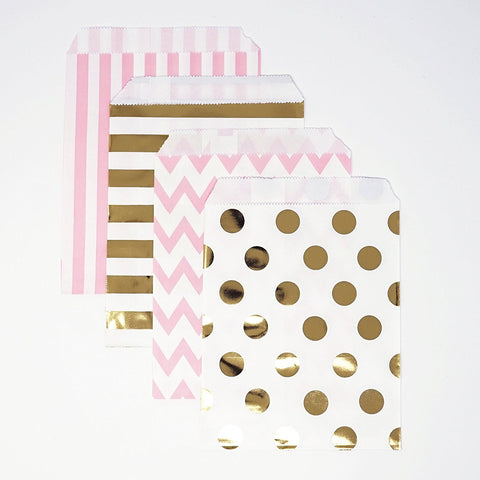 Gold and Pink Polka Dot, Stripe, Chevron Paper Treat Favor Bags 5x7 Gift Bags - 48 count
