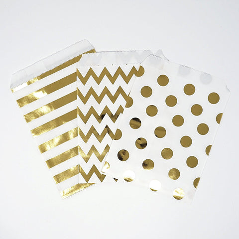 Chevron Polka Dot Stripe Gold Foil Paper Treat Favor Bags 5x7 Gift Bags - 48 count- Le Petit Pain