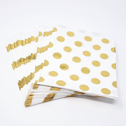 Polka Dot Gold Foil Paper Treat Favor Bags 5x7 Gift Bags - 48 count