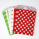 Red and Green Chevron, Dot, and Stripe Paper Treat Favor Bags 5x7 Gift Bags - 48 count- Le Petit Pain