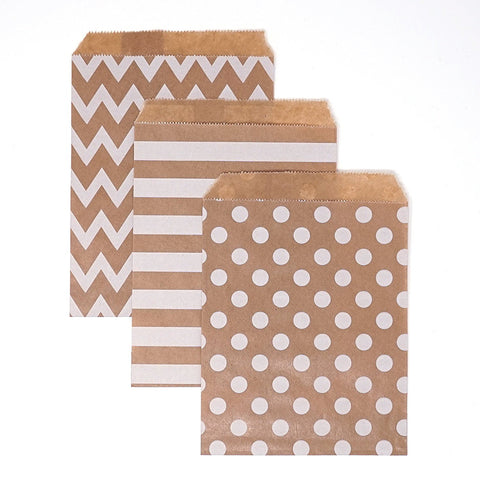 Kraft Brown and White Polka Dot, Stripe, Chevron Paper Treat Favor Bags 5x7 Gift Bags - 48 count