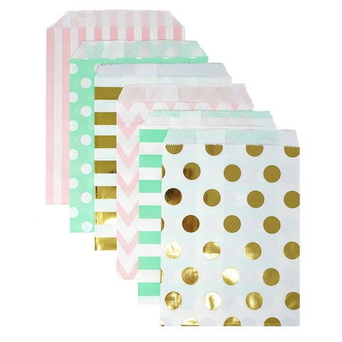 48 Pink Mint and Gold Polka Dot Chevron Stripes 5x7 Paper Treat Bags Goody Favor Bags - le petit pain