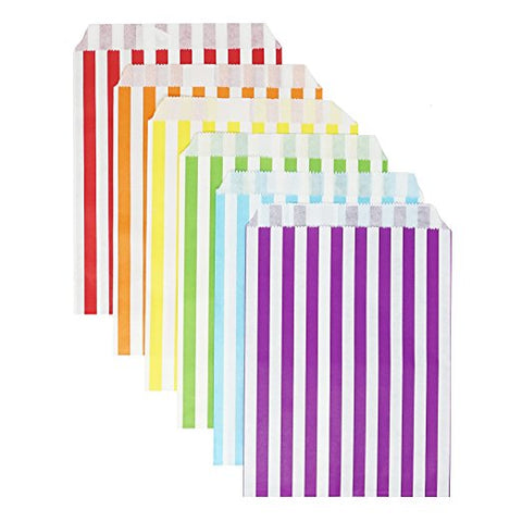 48 Rainbow Striped Stripes 5x7 Paper Treat Candy Bags Goody Favor Bags