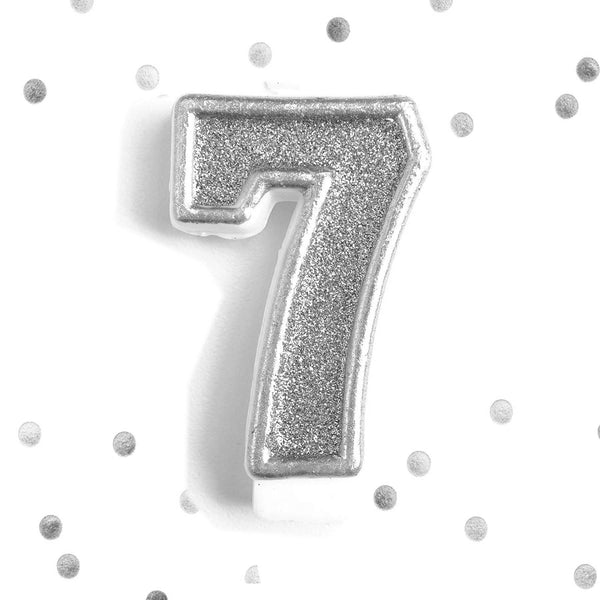 Silver Glitter 7th Birthday Candle Number 7 Silver Seven Number Cake Topper- Le Petit Pain