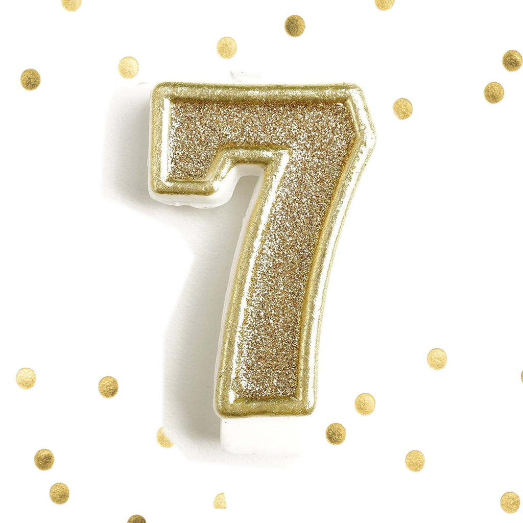 Light Gold Glitter Birthday Candle Number 7 White Anniversary Cake Topper Seven Le