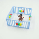Blue Playpen with Black Baby Cake Topper Girl Baby Shower Decoration