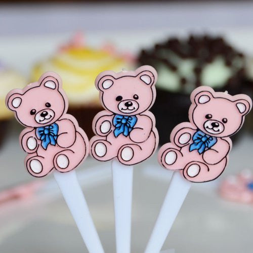 Pink Teddy Bear Cupcake Cake Picks Baby Party Decoration- 30 Count