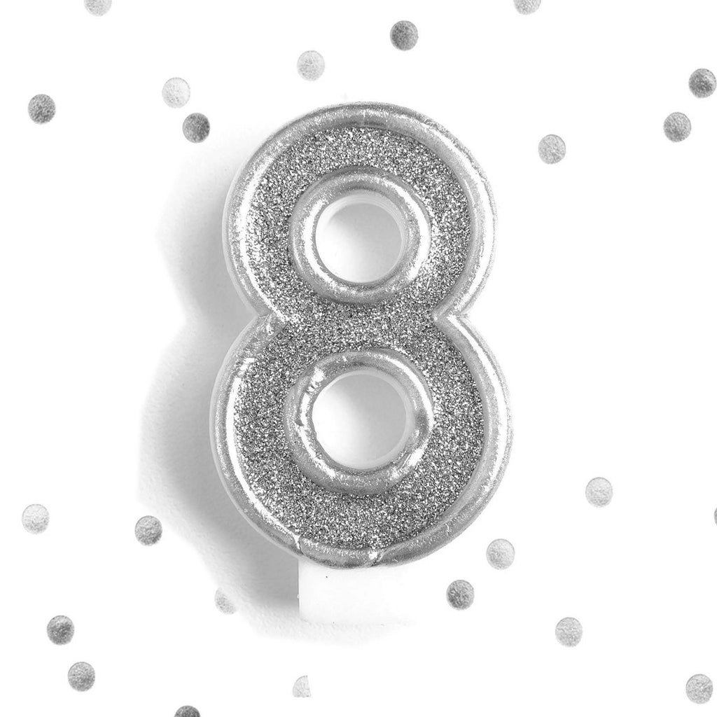 Silver Glitter 8th Birthday Candle Number 8 Eight Cake Topper Le Petit Pain