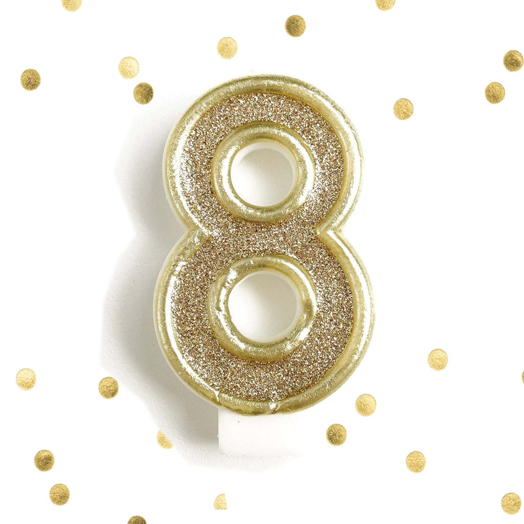Light Gold Glitter Birthday Candle Number 8 White Anniversary Cake Topper Eight Le