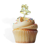 12 Gold Bells Cupcake Cake Picks