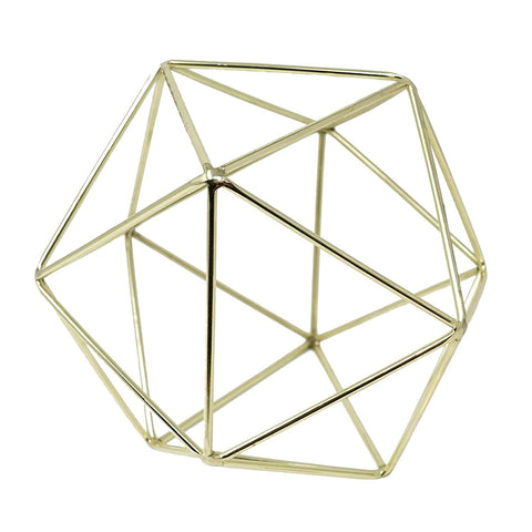Gold Geometric Centerpiece Hanging Metal Ornament Decorative Accent Object 6 in