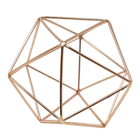 Rose Gold Geometric Centerpiece Hanging Metal Ornament Decorative Accent Object 6 in
