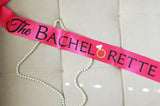 Hot Pink and Black The Bachelorette Sash with Crystal Pin Party Ribbon- Le Petit Pain