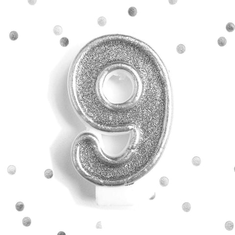 9 Silver Glitter 8th Birthday Candle Number 9 Silver Nine Number Cake Topper