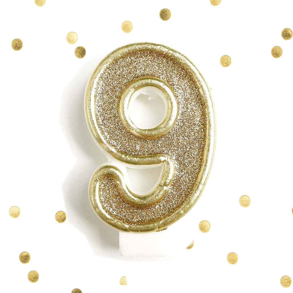 Light Gold Glitter Birthday Candle Number 9 White Anniversary Cake Topper Nine Le