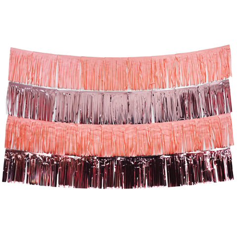 Blush Pink and Rose Gold Fringe Tassel Banners 8 Feet x 14 in