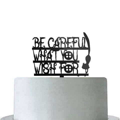 Be Careful What You Wish For Birthday Cake Topper Coraline Cat Buttons Black Acrylic