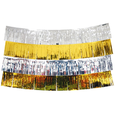 Gold and Silver Fringe Tassel Banners 8 Feet x 14 in