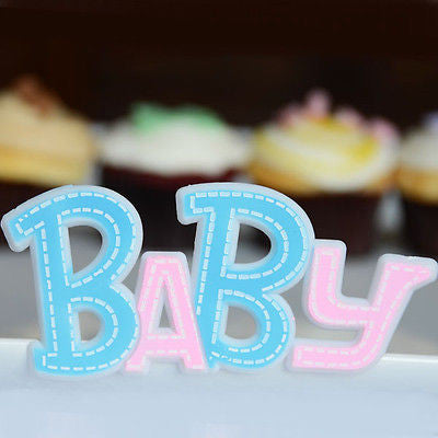 3 Baby Blue and Pink Baby Plaques Cake Topper Decoration Favors