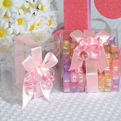 6 Clear Baby Shower Favor Boxes with Pink Ribbon and Pacifier - le petit pain
