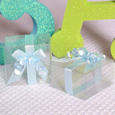 6 Clear Cute Baby Shower Favor Boxes with Blue Ribbon and Pacifier Gift Kit - le petit pain