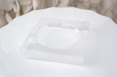 "12 Clear Small Take Out Box Cupcake Holder Inserts for 2"" Cupcake"