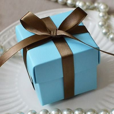 10 Light Blue Favor Box Wedding Baby Shower Container Turquoise - le petit pain