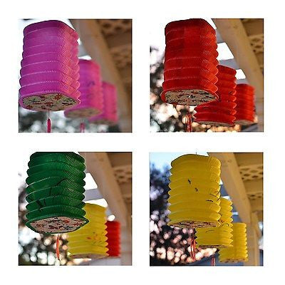 3 Pentagon Asian Style Chinese Fan Lanterns Hanging Multi Color - le petit pain