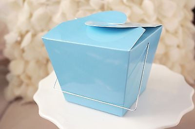 12 Blue Chinese Asian Small Take Out Boxes Easy Close Top Favors Cupcake Holder - le petit pain