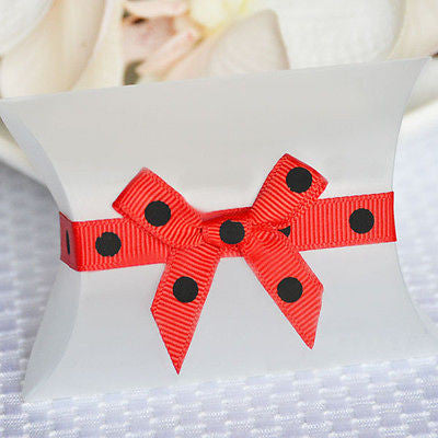 20 Self Adhesive Grosgrain Ribbon with Bows Polka Dot Red & Black 5mm weddings, baby shower, birthday gifts - le petit pain