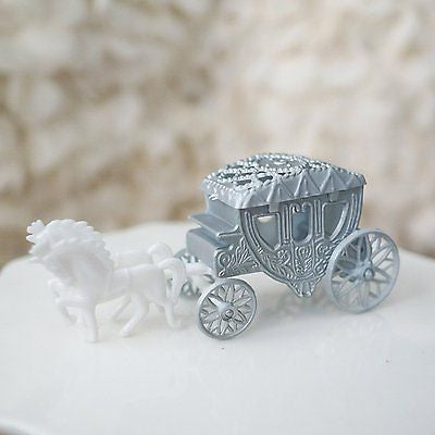Royal Vintage Cinderella Horse and Carriage Coach Cake Topper Silver & White- Le Petit Pain