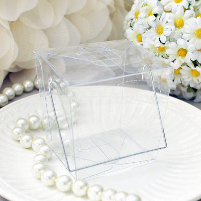 12 Clear Chinese Asian Small Take Out Boxes Favor Cupcake Holder Easy Close Top - le petit pain