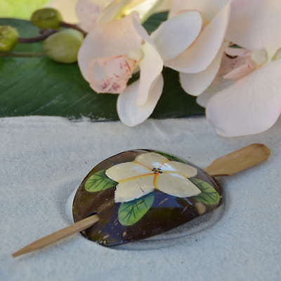 Coconut Shell Women Flower Hair Clip Pin Plumeria Luau Nautical Beach Party- Le Petit Pain