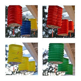 3 Triangle Asian Style Chinese Fan Lanterns Hanging Multi Color - le petit pain