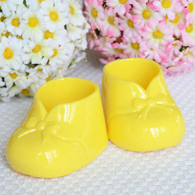 "4 Yellow 3"" Baby Booties Booty Baby Shower Favor Decoration"