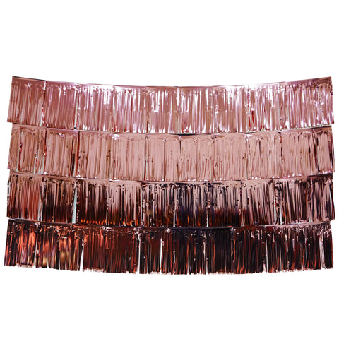 Rose Gold Fringe Tassel Banners 8 Feet x 14 in
