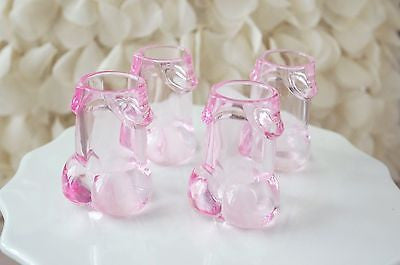 4 Clear Pink Pecker Shot Glasses Plastic Bachelorette Party Penis Shot Glass - le petit pain