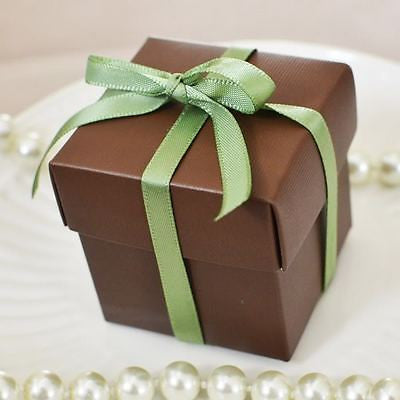 10 Square Chocolate Brown Favor Gift Box Wedding Baby Shower - le petit pain