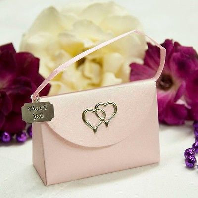 20 Pink Purse Favor Boxes with Thank You Charm with Hearts - le petit pain