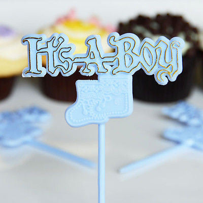 12 It's A Boy Booties Blue and Gold Bakery Cake Topper Picks Baby Shower Decor